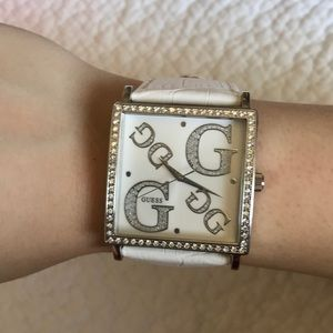 GUESS 💗 White Square Leather Watch
